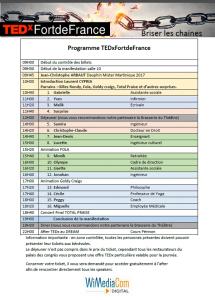programme public TEDx FDF 2017